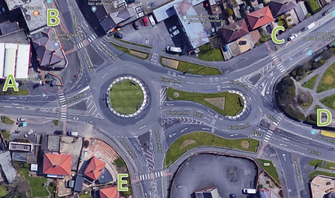 bispham roundabout labelled