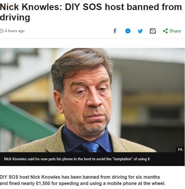 BBC report on Nick Knowles Driving Ban