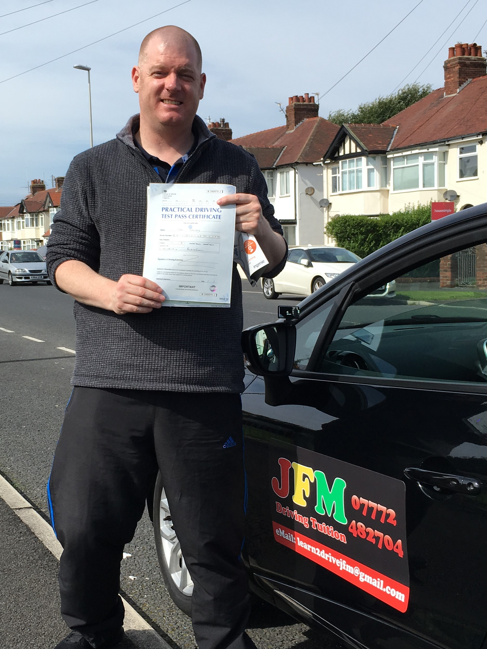 Carl Bailey 1st time pass driving test 29 Aug 19 with JFM Driving Tuition
