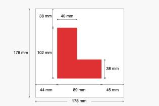 UK - L Plate dimensions