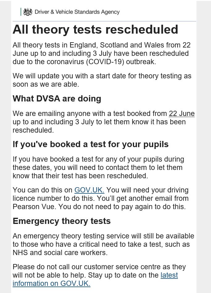 Theory Test reschedled 15jun20